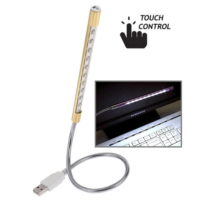 휴대용 터치 스위치 USB LED 조명 10-LED (골드)