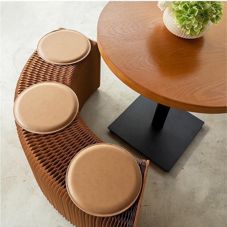 종이 접이식 아코디언 의자 (높이 42cm 브라운 + 3인 살구 패드)