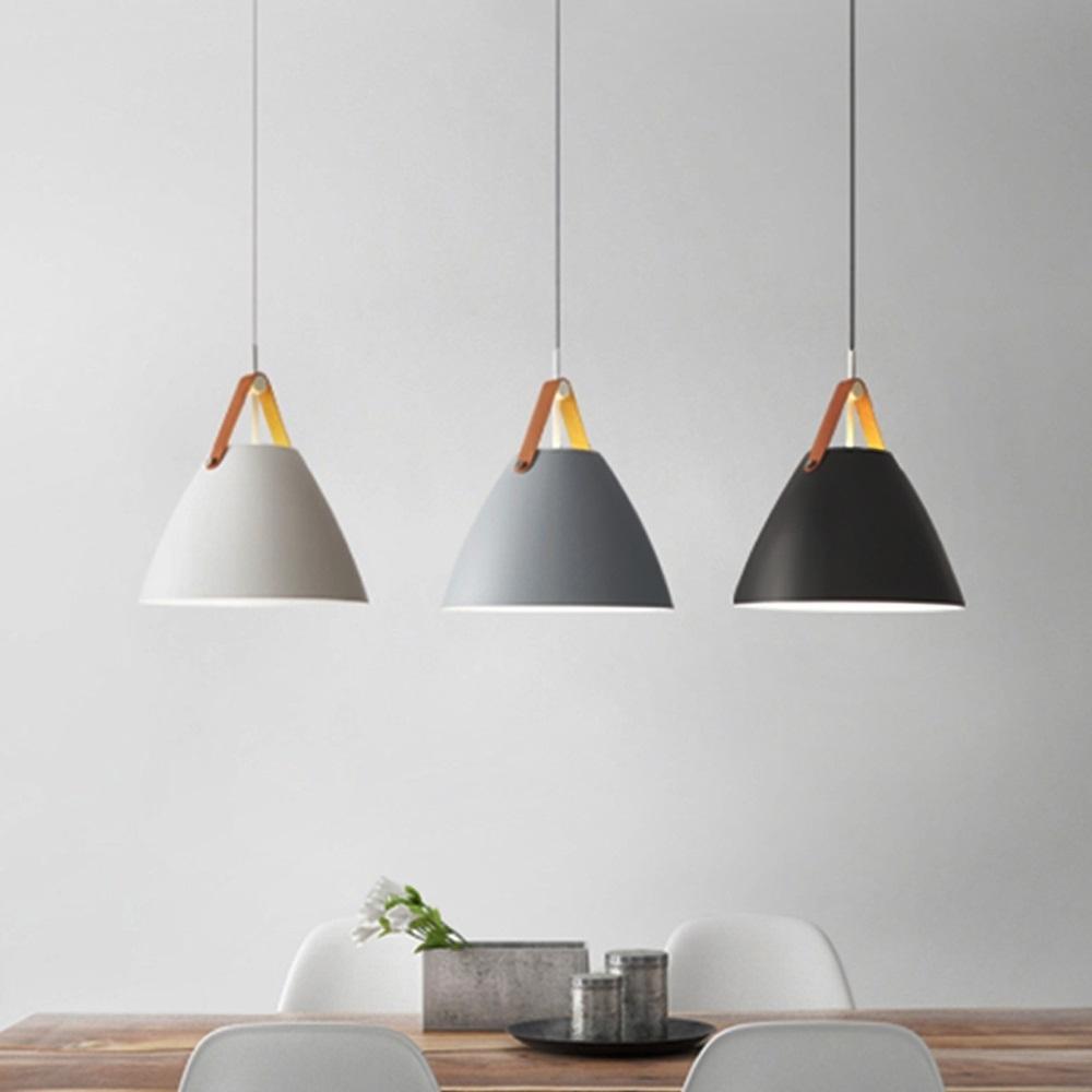 YWXLight LED 북유럽 현대 간단한 매달려 램프 크리에이티브 철 예술 펜던트 조명 E27 전구 부엌 식당 침실 (컬러 : 화이트   + 차가운 화이트)