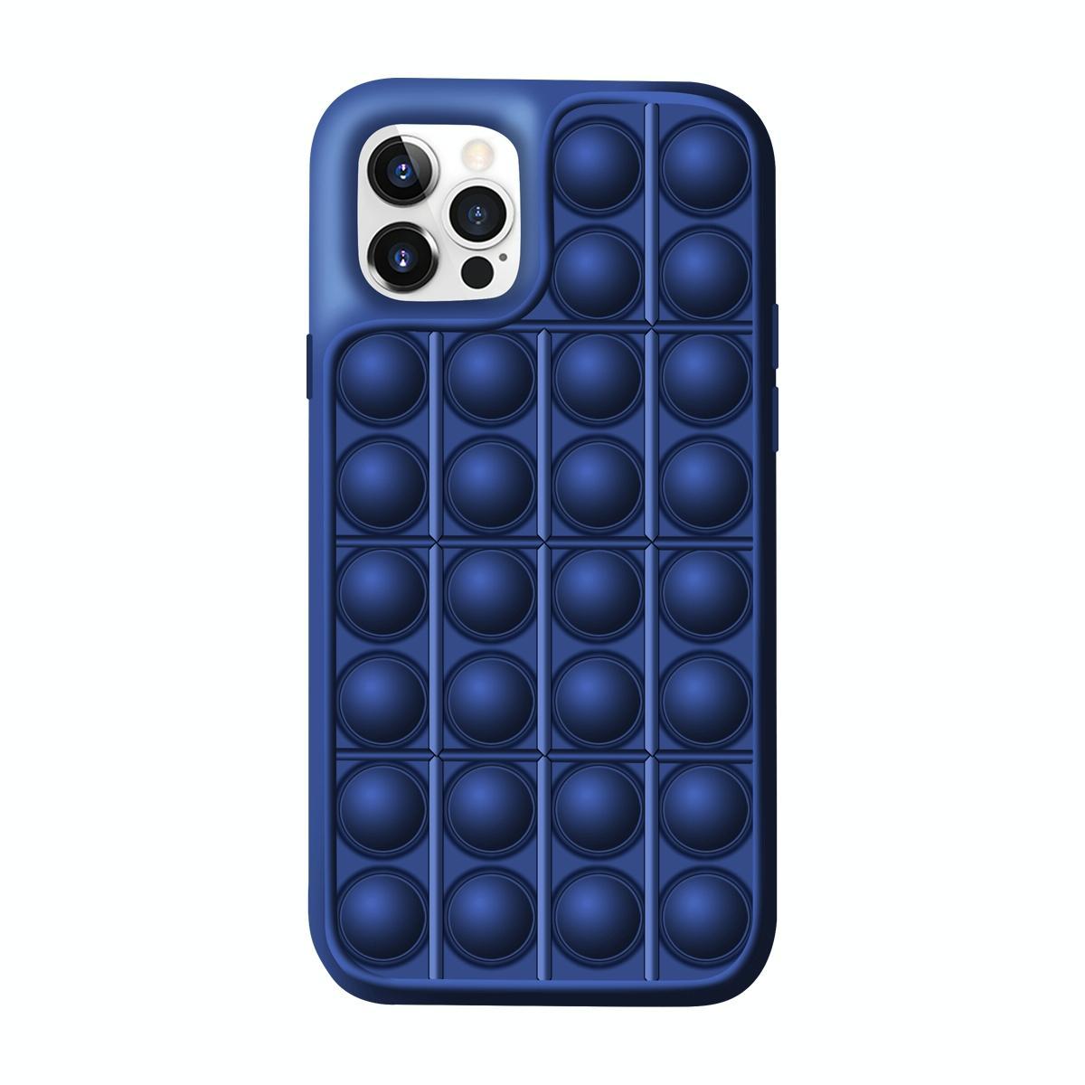아이폰12 미니 레고 뽁뽁이 디자인 특이한 핸드폰 케이스 (Navy 블루)
