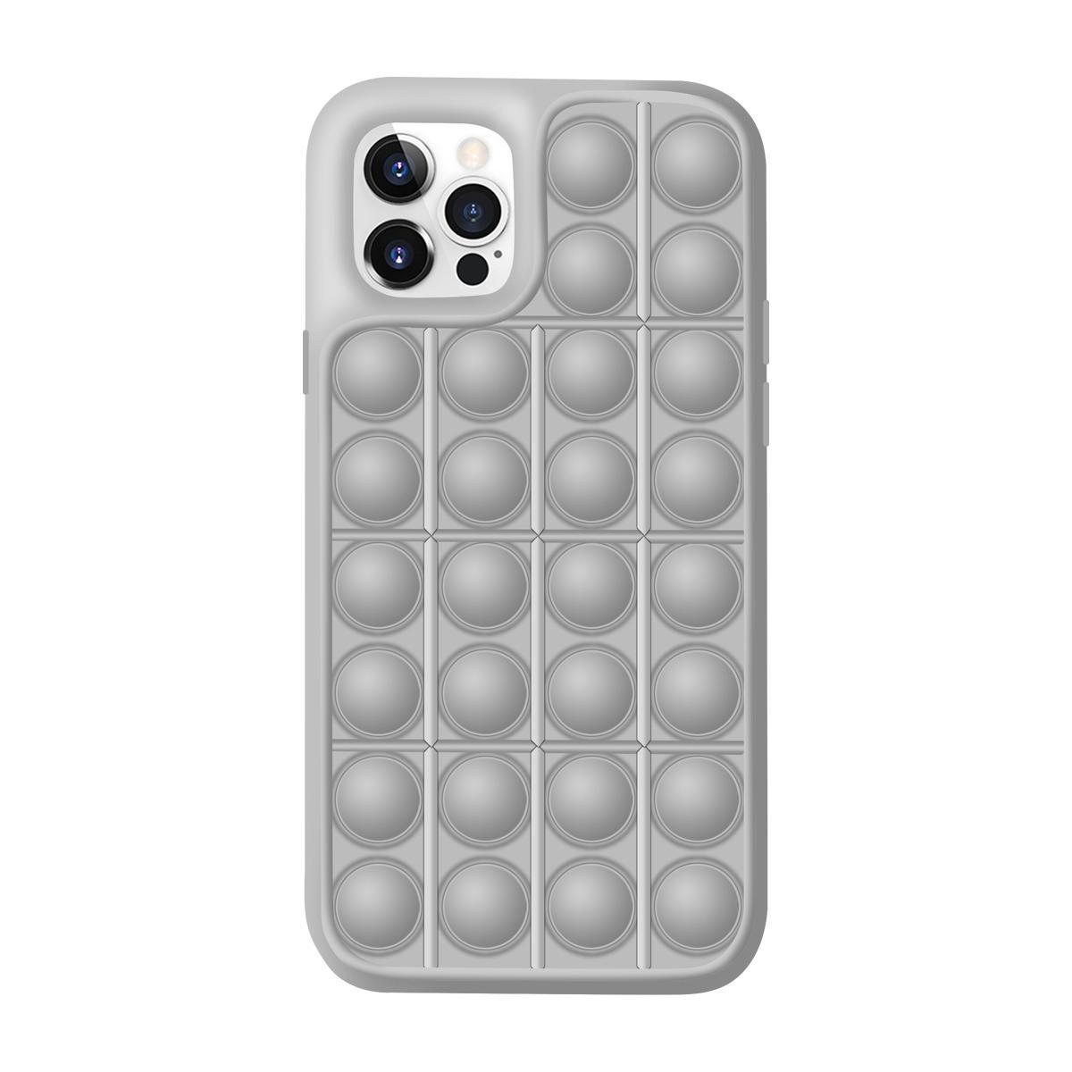 아이폰12 미니 레고 뽁뽁이 디자인 특이한 핸드폰 케이스 (그레이)