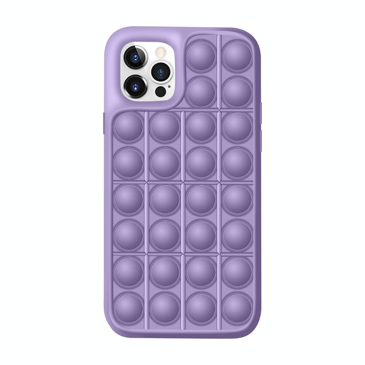아이폰12 / 12프로 레고 뽁뽁이 디자인 특이한 핸드폰 케이스 (라이트 퍼플)