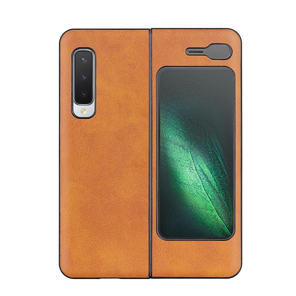 갤럭시 Z 폴드 5G PU 가죽+PC+TPU 핸드폰 가죽 케이스 (브라운)