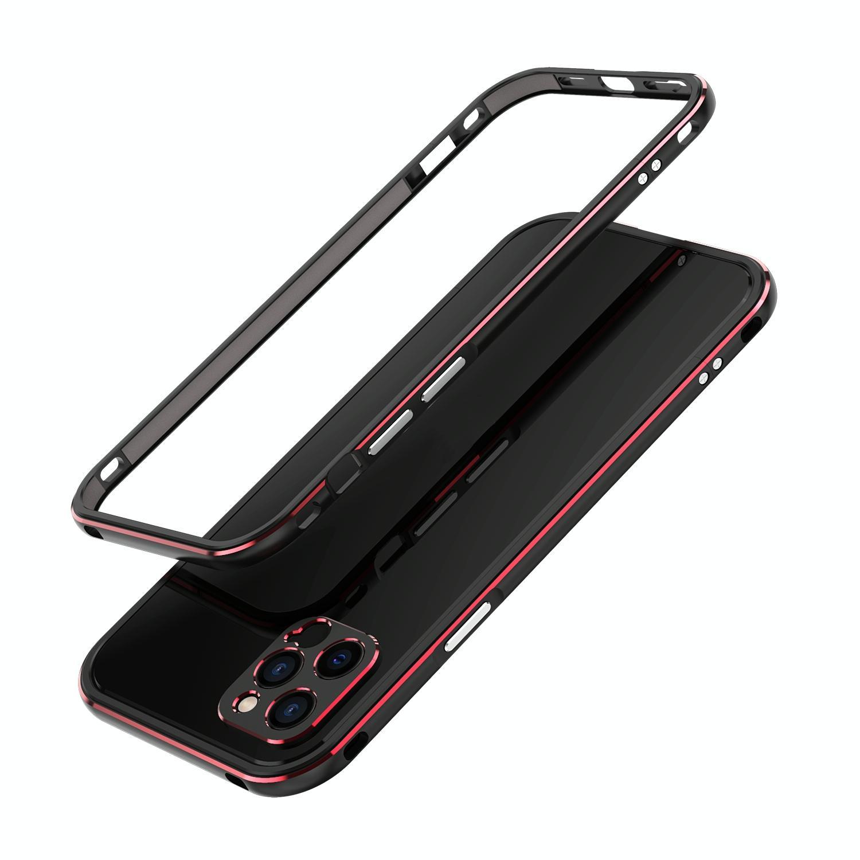 아이폰12 미니 범퍼케이스 오로라 메탈프레임 렌즈커버 포함 (블랙 레드)