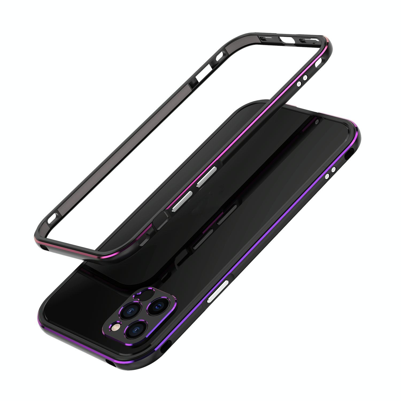 아이폰12 범퍼케이스 오로라 메탈프레임 렌즈커버 포함 (블랙 퍼플)