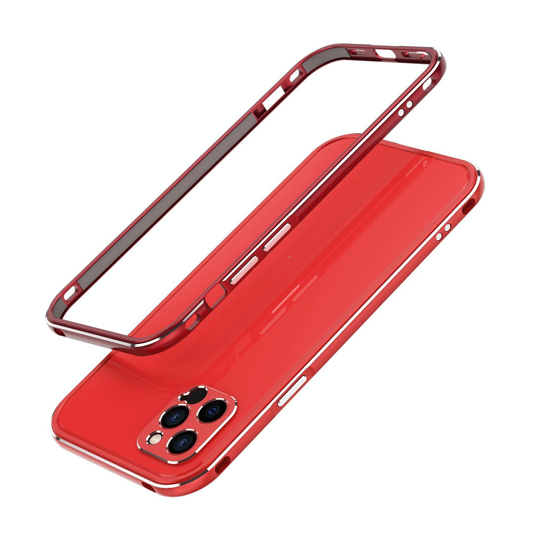 아이폰12 범퍼케이스 오로라 메탈프레임 렌즈커버 포함 (레드)