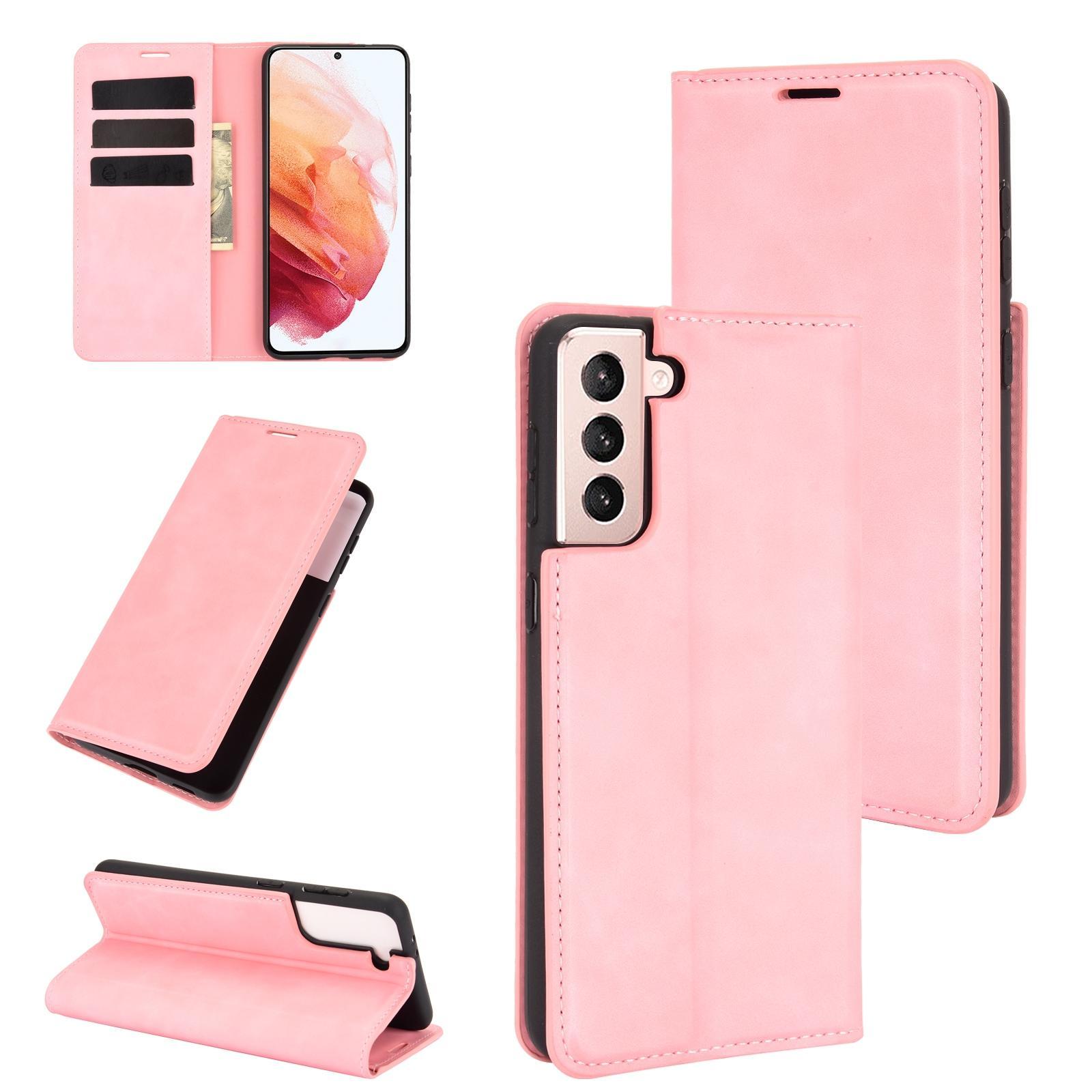 갤럭시 S21 레트로 디자인 가죽 지갑 핸드폰 케이스 (핑크)