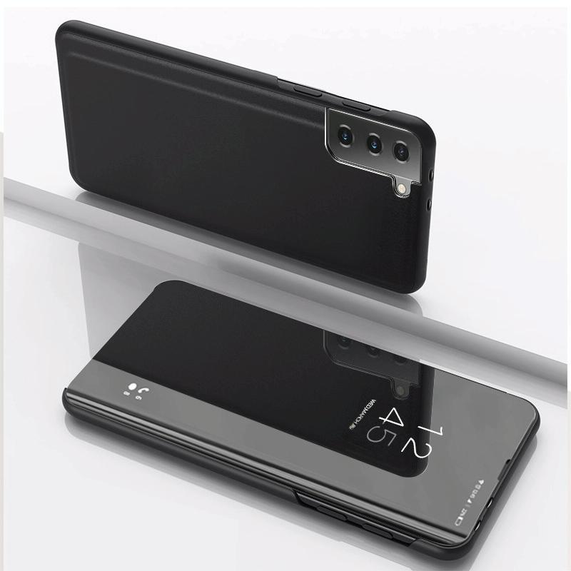 갤럭시 S21 플립 미러 가죽 핸드폰 케이스 포함 (블랙)