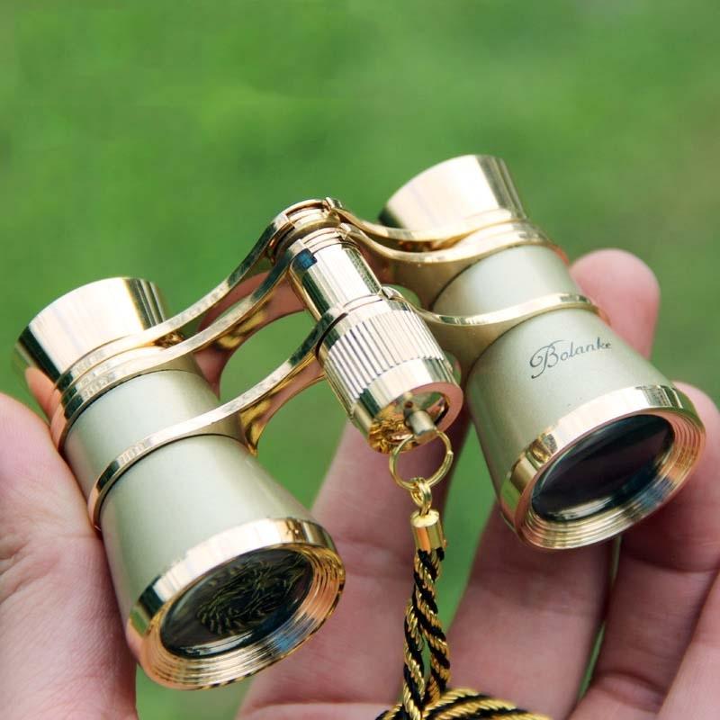 오페라글라스 망원경 3x25mm 사슬포함 고전 메탈 쌍안경 (골드)